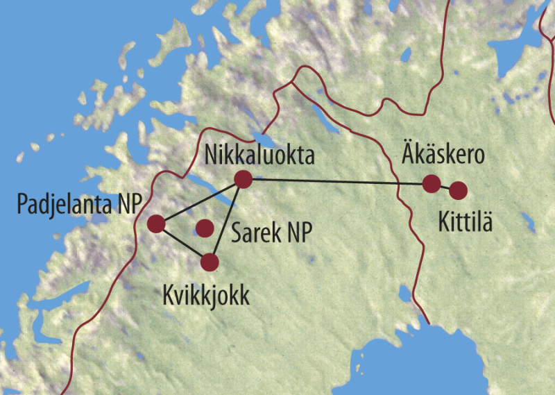 MAP Karte Finnland: Schlittenhunde-Expedition - Husky-Panoramatour